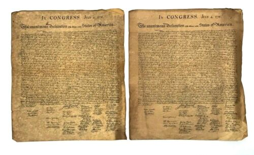 2 Vintage Copy Of The Declaration Of Independence On Parchment Paper