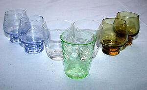 Beautiful-Vintage-Mixed-Set-of-Seven-Shot-Glasses