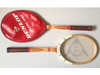 Two dunlop maxply fort wooden tennis raquets rackets. Vintage retro collectors