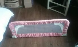 Childs pink bed extendable bed guard