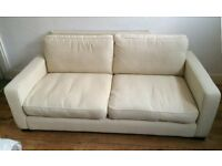 Sofa - 3 Seater Sofa Fabric Cream Colour - Original RRP£425