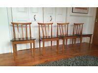4 x Mid Century Retro Teak Chairs by Elliotts of Newbury