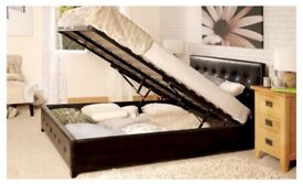 King size gas lift storage leather bed