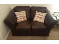 4 Seater & 2 Seater Brown Leather Sofas