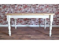 Antique Pine Farmhouse Pine Dining Extending Table - in Huge Range of Sizes inc Bespoke