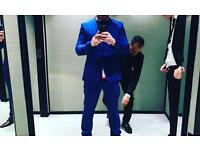 Men's tailor made suit in blue