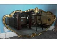 Large 1950s guilt gold metal frame mirror