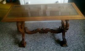 LOVELY ORNATE WOODEN TABLE (NOT SURE OF AGE )