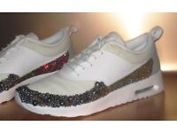 Size 5.5 Nike Air Max Thea, Swarovski crystals & Ab pearls