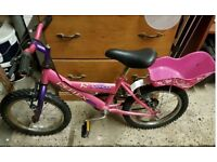 childs bike with dolly seat on rear good tires etc ,16 inch wheels