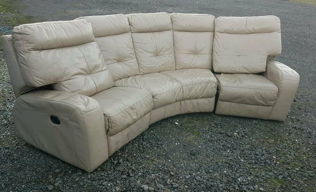 Leather reclinging sofa