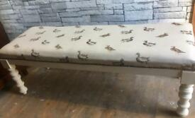 Long stool/kitchen Bench/end of bed Bench/Upcycled & reupholstered in duck fabric