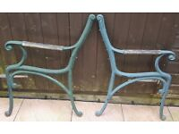 GREEN CAST IRON BENCH OR CHAIR ENDS - THESE CAN BE USED TO MAKE A CHAIR OR BENCH! – VERY HEAVY!
