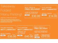 B4 and A4 Takeaway Menus, Folded leaflets menus and same day printing at Bargain Price