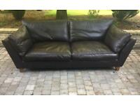 Brown Real Leather 3 Seater Sofa, Can Deliver