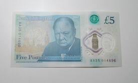Plastic £5 fiver, serial number AA35 014696