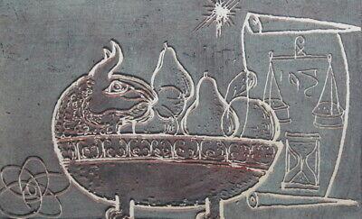 Vintage Abstract surrealist print fruits still life cat bowl