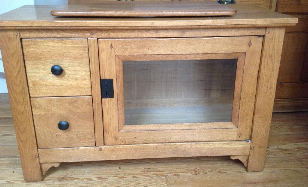 MULTIYORK solid oak TV cabinet with turntable, glazed door and two ...