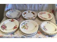 JOL LOT SET OF 32 PRETTY VINTAGE MISMATCHED BONE CHINA CAKE TEA PLATES