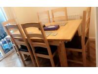 Dining table with 6 chairs OAK