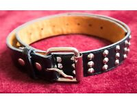 Genuine Leather - Black Studded Belt, Size: S