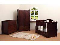 Walnut sleigh changer top drawers and Wardobe nursery baby furniture £200