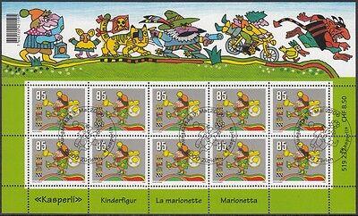 SCHWEIZ, 2006 Hörspielfigur Kasperli 1969 Kleinbogen gestempelt, (18290)