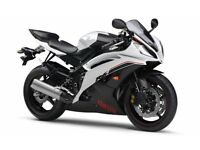 Yamaha R6 in the rare Ice white colour.