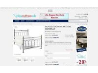 BENTLEY DESIGNS KRYSTAL & SHINY CHROME DOUBLE BEDSTEAD & MATTRESS CAN DELIVER Collect Kirkby NG177