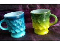Two Vintage Fire King Mid Century Glass Mugs VGC