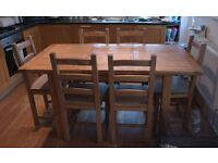 Solid Oak Dining table and 6 Solid Oak chairs