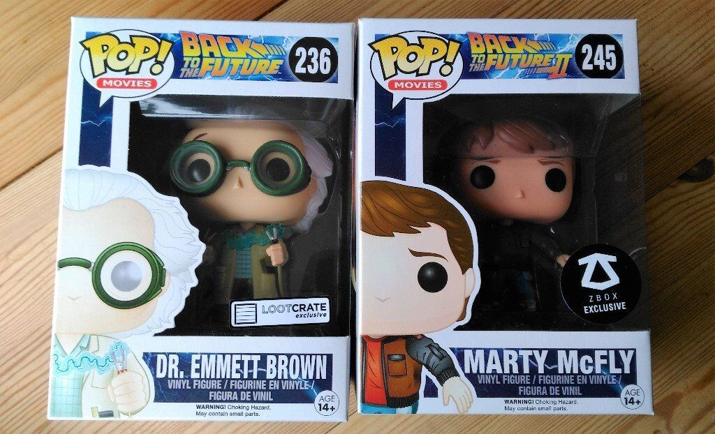 Funko Pop Vinyl Figures Back to The Future 1 and 2 - Dr. Emmett-Brown and Marty Mcfly Exclusives