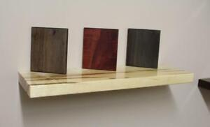 Ontario Solid Maple, Reclaimed Barn Wood, Walnut Floating Shelves with Hidden Steel Mounting Brackets - Free Shipping