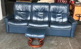 Ekornes Stressless Recliner Leather Sofa & Footstool.Can Deliver