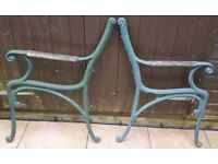 LIGHT GREEN CAST IRON BENCH OR CHAIR ENDS - THESE CAN BE USED TO MAKE A CHAIR OR BENCH! VERY HEAVY!
