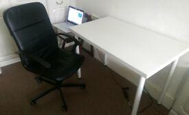 IKEA White Desk & Faux Leather Desk Chair