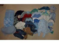 Newborn/Baby Boy Clothes Bundle 0-3 Months - Sleep Suits, Vests, Trousers, T-Shirts, Hats, Blankets