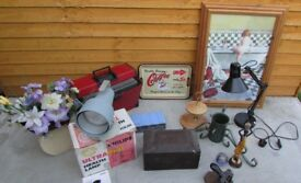 Joblot of retro vintage collectors items house clearance Angle poise, old box, picture etc Delivery