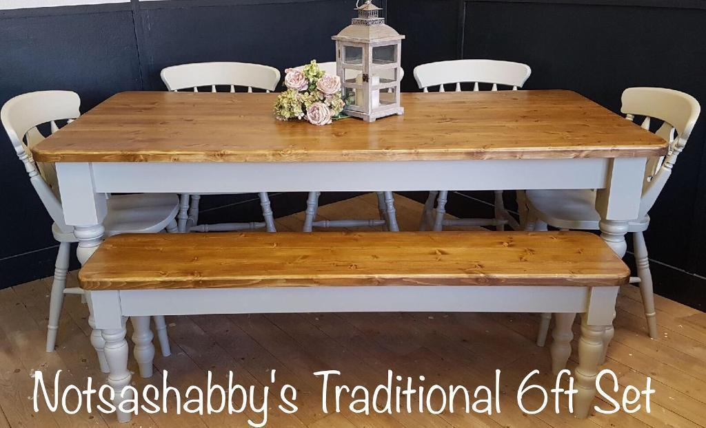 STUNNING 6FT PINE NEW HANDMADE FARMHOUSE TABLE BENCH AND CHAIRS | In  Thatcham, Berkshire | Gumtree