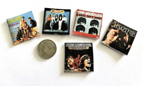 """Dollhouse Miniature Overstock Lot Sale - """"Record"""" Albums with """"Records"""" #9 1:12"""