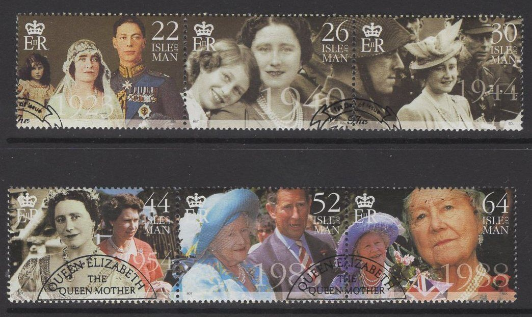 ISLE OF MAN SG875/80 2000 QUEEN MOTHER''S CENTURY FINE USED