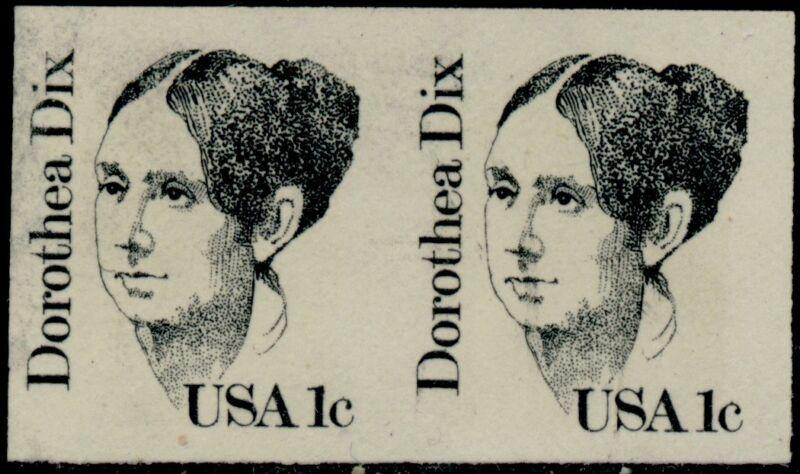 """#1844a """"dorothea Dix"""" 1¢ Imperf Pair Major Error Bq5213"""