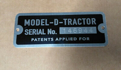 John Deere Model D High Quality Aluminum A Serial Number Tag Plate