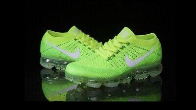 New Men Light Green Nike FlyKnit Vapormax Trainers 7.5 UK