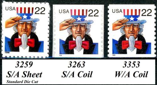 Uncle Sam Complete Set of the 3 Major Types Scott