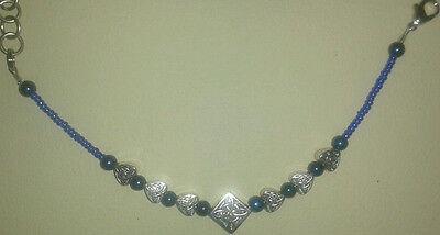 (Celtic Knot Bracelet Silver Irish Beaded Love Trinity Heart Charms 7