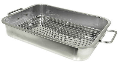 Prime Pacific Stainless Steel Heavy Duty 16 inch Lasagna Roasting Pan with Rack (Heavy Duty Roasting Pan)