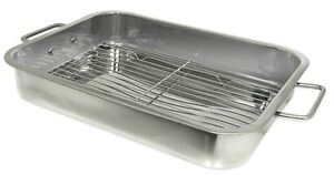 Prime Pacific Stainless Steel Heavy Duty 16 inch Lasagna Roasting Pan with Rack