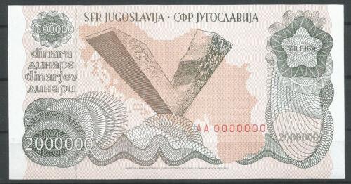 Yugoslavia 2000000 Dinara 1989 Year UNC Banknote Zero serial number