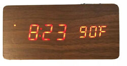 [USED] Wooden Alarm Clock LED Digital Clock Time Temperature Voice Control Alarm